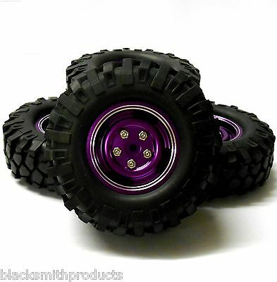 55103 1/10 Scale Off Road Rock Crawler Wheel and Tyres x 4 Purple Alloy