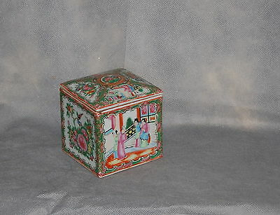 Antique Chinese Export Porcelain Rose Medallion Pattern Square Lidded Box AS IS