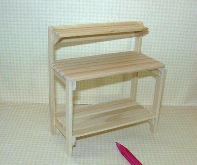 Miniature Natural Wood Potting Table/Bench: DOLLHOUSE Miniatures 1/12 Scale