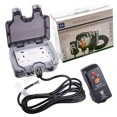 BG Outdoor Weatherproof Power Kit Twin Switched Mains Socket RCD Protected Plug