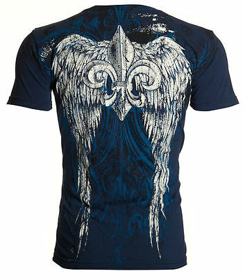 Archaic AFFLICTION Mens T-Shirt WING Fleur De Lis NAVY Tattoo Biker MMA $40