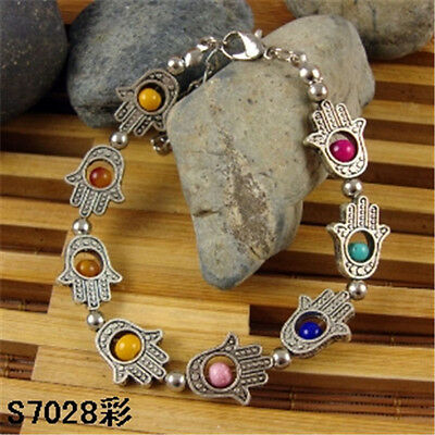HOT Free shipping New Tibet silver multicolor jade turquoise bead bracelet S62D
