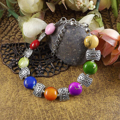 Free shipping New Tibet silver multicolor jade turquoise bead bracelet S11E