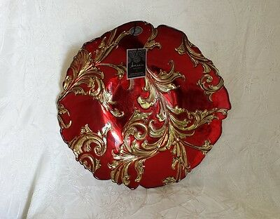 """Artistic Accents Art Glass Bowl Red Gold Silver Turkish Collection 16"""" NWT"""