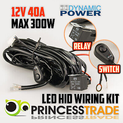 LED HID Fog Spot 4WD Driving Lights Wiring Harness Loom Switch Relay Kit 12V 40A