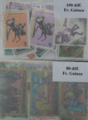 French Guinea, 180 stamps in packets. (ww089)