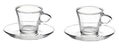 Eddingtons Clear Small Glass Espresso Coffee Cups & Saucers 80ml Set of 2 Boxed