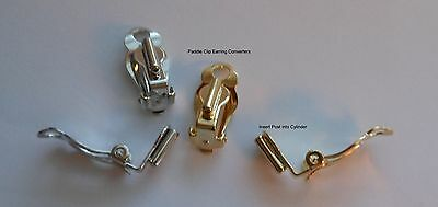 Earring Converters Pierced to Clip On 2 pair Paddle Clip Silvertone & Gold Tone