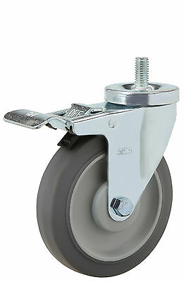 "Total Lock Stem Caster: TS 1/2-13x1. Rubber on Poly Wheel: 4"" x 1-1/4"". Ball Brg"