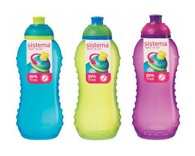 3 Sistema 330ml Drink Water Juice Squash Bottle Aqua Blue Lime Green Pink School