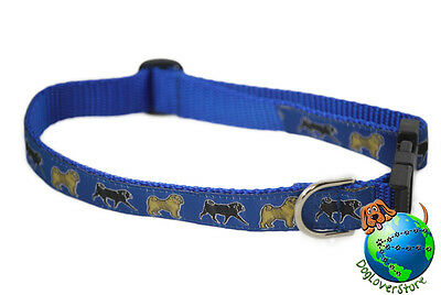 "Pug Adjustable Collar Medium 11-19"" Blue"