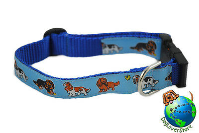 Cavalier King Charles Dog Breed Adjustable Nylon Collar Tri Medium 10-16″ Blue