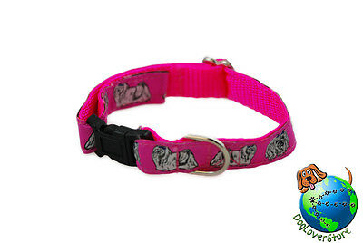 Maltese Dog Breed Adjustable Nylon Collar Small 7-11″ Pink