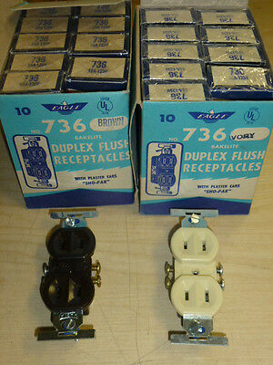 NOS! Lot of (10) EAGLE RECEPTACLES 15A-125V, 2-WIRE BROWN / IVORY, BAKELITE