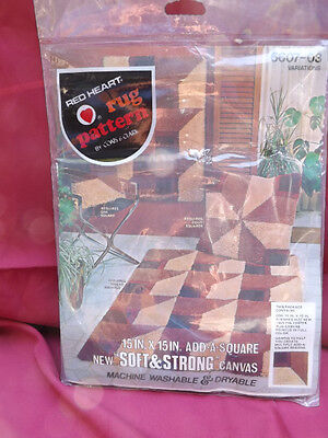 Vtg Red Heart GEOMETRIC Variations LATCH HOOK CANVAS Add-A-Square Rug Pillow NIP