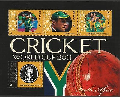 NEVIS 2011 CRICKET WORLD CUP South Africa Team Sheet with CORRECTED Value MNH
