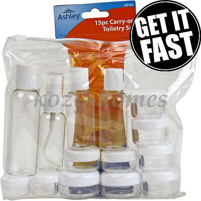 15 Piece Carry On Travel Toiletry Set Bottles Jars Clear Plastic Airport Flight