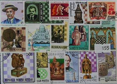 100 Chess stamps in packet  (155)