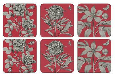 Sanderson Pimpernel Etchings & Roses Red Coasters Drink Mats Set of 6 New Boxed