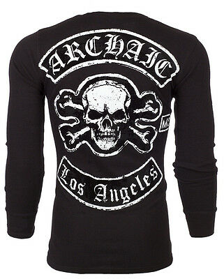 Archaic AFFLICTION Mens THERMAL T-Shirt LOS ANGELES Skull Tattoo Biker UFC $58