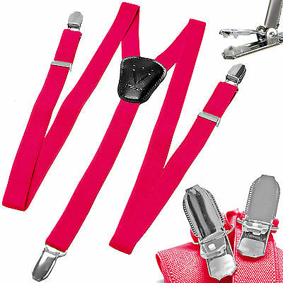 New Y back Kid's Boy's Suspender Braces adjustable strap clip on casual hot pink