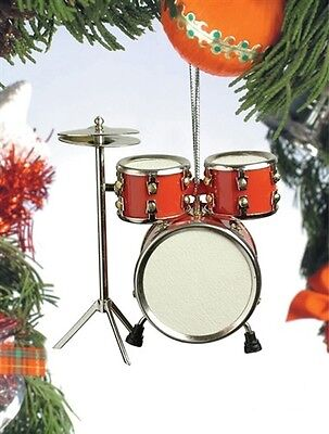 Miniature Red Drum Set Christmas Ornament Music Holiday Gift Stocking