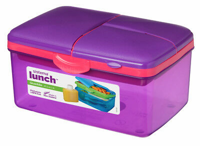 Sistema Large Purple Quaddie 4 Compartment Lunch Box 2 Ltr BPA Free