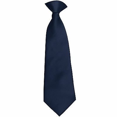 New 100% Polyester Kids Clip On Pre Tied Neck tie solid navy blue Size 14