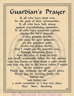 GUARDIAN'S PRAYER POSTER A4 SIZE Wicca Pagan Witch Goth BOOK OF SHADOWS
