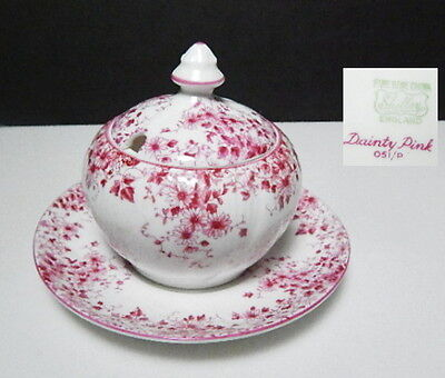 Shelley DAINTY PINK Covered Mustard Jar with Underplate, Rare!