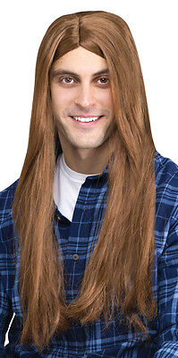 Adult Men's Music Musician Rocker 70s Style Long Straight Hair Brown Costume Wig