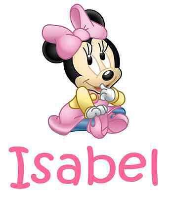 """Personalized Baby Minnie Mouse Iron On Transfer 5""""x5.75"""" For LIGHT Fabrics"""