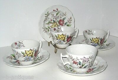 Set of 4 Teacups And Saucers - Booths Fine China - English  Flowerpiece Pattern