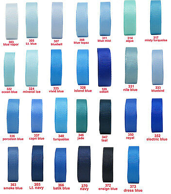 "10y 25y 50y 22mm 7/8"" Blue Shades Premium Grosgrain Ribbon All Occasions Eco"