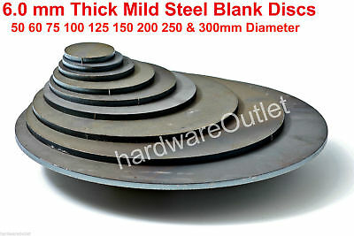 "6.0mm Thick Disc ROUND Circle CR3 MILD STEEL Sheet Plate Size 1.5 - 6"" Diameter"
