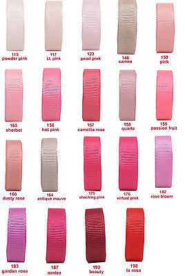 "10y 25y 50y 22mm 7/8"" Pink Shades Premium Grosgrain Ribbon All Occasions Eco"