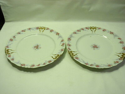 Set of 2 Limoges Plates Made For J. Dolfinger & Co. White, Pink Roses, Gold Trim