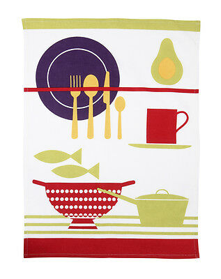 Rushbrookes Paintbox Colander Design Single Tea Towel Kitchen Cloth 100% Cotton