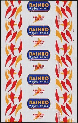 Vintage bread wrapper RAINBO from 1956 Sacramento Chico California new old stock