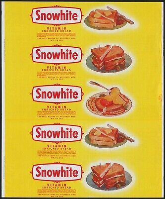 Vintage bread wrapper SNOWHITE dated 1955 sandwich pictures Muskegon Michigan