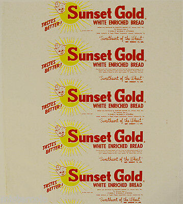 Vintage bread wrapper SUNSET GOLD dated 1959 pig Piggly Wiggly Stores unused