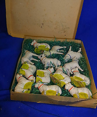 Lot of 13 Plaster Sheep Figurine 5 with Wood Stick Legs in Box Antique #M