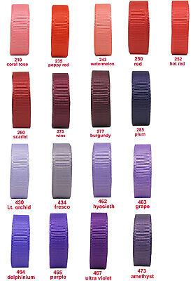 "10y-50y 100y 16mm 5/8"" Red Burgundy Purple Lilac Premium Grosgrain Ribbon Eco"