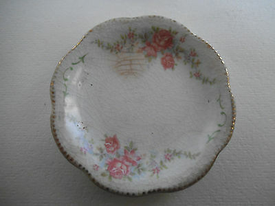 Vintage WH Grindley England Butter Pat Dish Plate Pink Roses