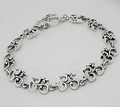 """7"""" NEW Solid Sterling Silver Ornate Ohm Om Bracelet 12.98g Toggle Clasp"""