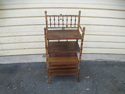53448  Vintage Rattan  Bamboo Boookcase What Not Curio Cabinet Shelf