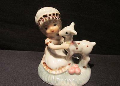 "Little Girl with Lamb Vintage Giftcraft 2 3/4"" tall Figurine"