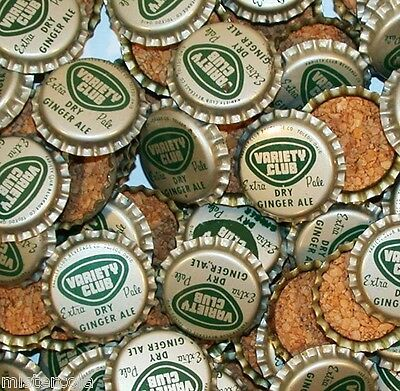 Soda pop bottle caps Lot of 25 VARIETY CLUB GINGER ALE cork lined new old stock