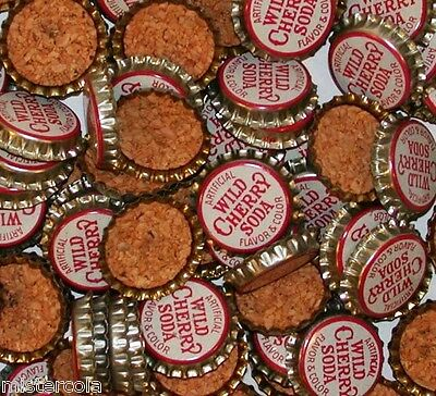 Soda pop bottle caps Lot of 25 WILD CHERRY SODA cork lined unused new old stock