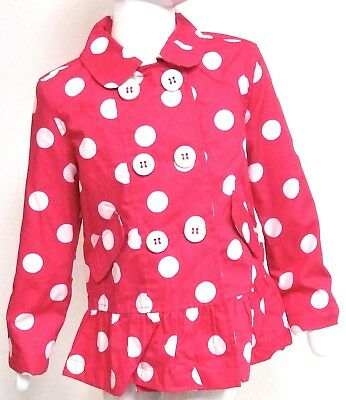 John Lewis Girls Pink Polka Dot Cotton Lined Double Breasted Ruched Coat
